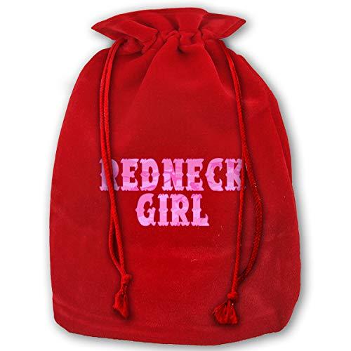 TPSXXY Redneck Girl Pink Large Christmas Drawstring Bag Santa Present Bag Basket Gifts Sack