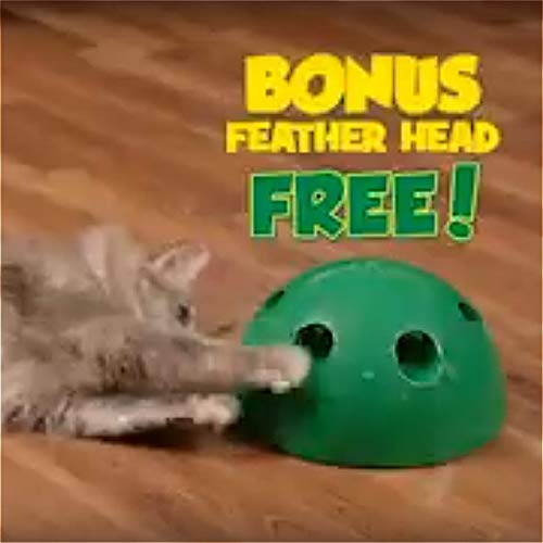 Cat Interactive Motion Cat Toy, Round Electronic Smart Random Moving Feather & Hamster Teaser, Mouse Sound Optional Auto Shut Off, Great Cat Toys- Popandplay- Boo Pop- Cat Toys Funny 4