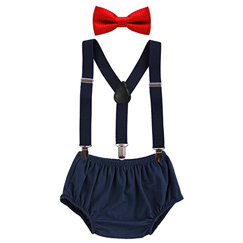 FYMNSI Newborn Baby Boys 1st/2nd Birthday Cake Smash Photo Props 3pcs Outfits Bloomers Y Back Suspenders Bowtie -