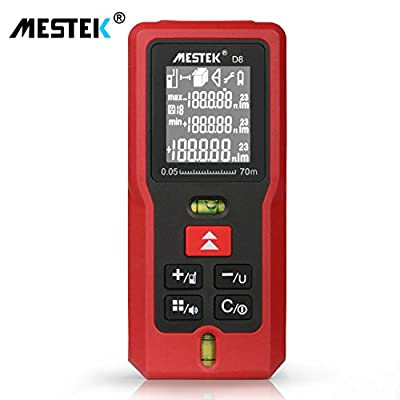 Laser Measure Distance Meters MESTEK 229FT/70M Digital Tape Level Tools with LCD Screen Single-distance Rangefinder Continuous Measurement Bubbles Pythagorean Area Volume Calculation -Battery Included