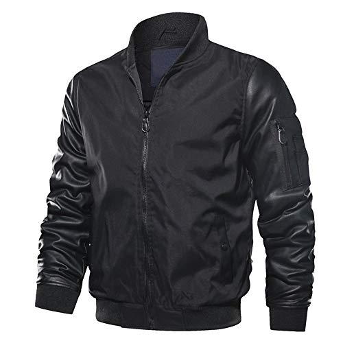 Sunhusing Men Solid Color Long Sleeve Stand Collar Side Zip Pocket Flight Jacket Uniform Coat from Sunhusing