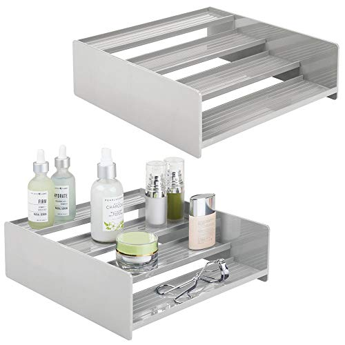 mDesign Plastic Bathroom Storage Organizer Shelf for Cabinet, Vanity, Countertop - Holds Vitamins, Supplements, Medicine Bottles, Essential Oils, Nail Polish, Cosmetics, 4 Levels, 2 Pack - Light Gray