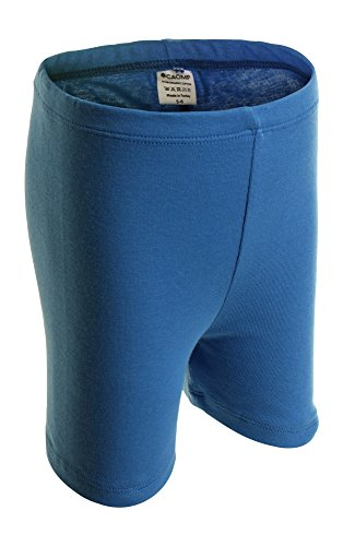 CAOMP Girls' Bike Short 100% Organic Cotton for Sports and Under Skirts (13-14, Denim Blue)