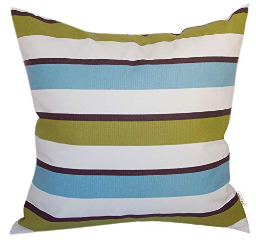 TangDepot Decorative Handmade Stripe Cotton Throw Pillow Cover, Pillow Sham, Euro sham, Indoor/Outdoor Square Cushion Cover - (14