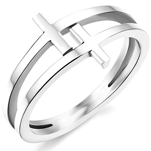 Kingray Jewelry Stainless Steel Double Christian Cross Ring Size 4-12 (Silver, 10) - Hope Christian Ring