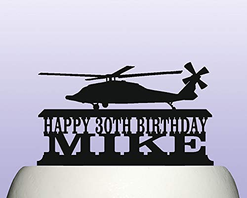 Blackhawks Cake Topper (Cake Topper Personalised Black Hawk Military Helicopter Birthday Decoration Acrylic Available In 15)