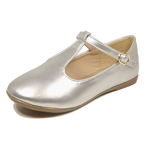 Nova Utopia Toddler Little Girls Dress Ballet Mary Jane Bow Flat Shoes,NF Utopia Girl NFGF062 Silver 11 (Shoes For Girls For Dress)