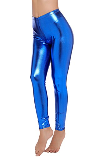 PINKPHOENIXFLY Womens Sexy Shiny Faux Leather Leggings Pants (M, Dark Blue) (Shiny Blue)