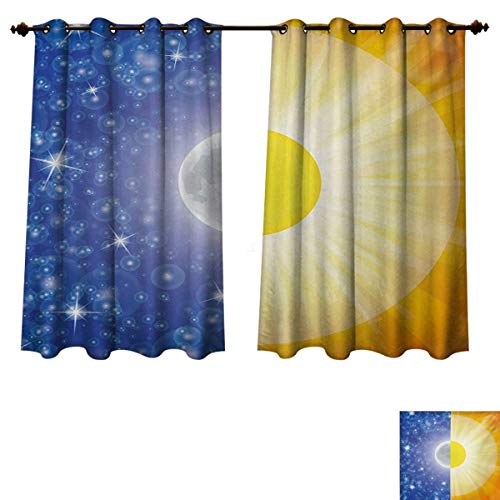 RuppertTextile Space Blackout Curtains Panels for Bedroom Split Design with Stars in The Sky and Sun Beams Solar Balance Nature Image Print Decor Curtains Blue Yellow W55 x L45 inch