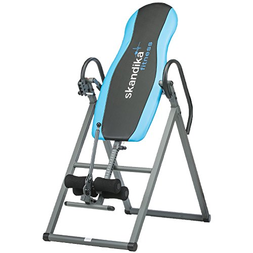Skandika Gravity Coach Inversion Table, Foldable Gravity Trainer Four-Fold Adjustable Inversion Angles, Improves Back Pain Therapy and Posture, Blue, Large