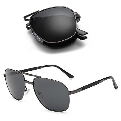 metal de de diseño polarizadas Gafas de unisex plegables aviador Aoron sol fYOw50