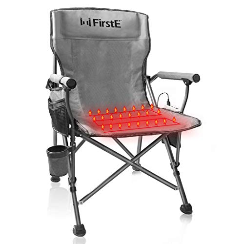 FirstE Heated Portable Chair, Hot Chair for Camping, Sports, Beach, and Picnic. USB Heated Folding Seat with 3 Temperature Adjustment, Cup Holder and Pockets, Battery Not Included