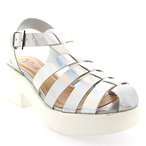Womens Pumps Cut Out Mid Heel Gladiator Platform Block Heel Shoes Sandal - Silver Hologram - 9 - 40 - CD0207B