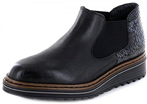 Rieker M6390 Signore Stivali Corti, Ankle Boot, Stivali Antiscivolo, Barca, Slip-on Di Avvio, Extra-soft Calzino Nero / Granito / 00