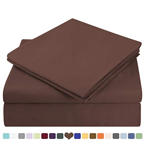 HOMEIDEAS Bed Sheets Set Extra Soft Brushed Microfiber 1800 Bedding Sheets - Deep Pocket, Hypoallergenic, Wrinkle & Fade Free - 4 - Chocolate Fitted Sheet