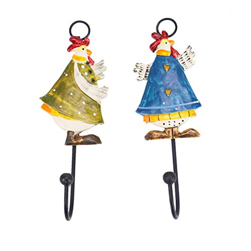 Monrocco Set of 2 Decorative Rooster Design Mounted Wall Hooks Hangers Rack for Hat, Home Car Key, Towel, Cloth