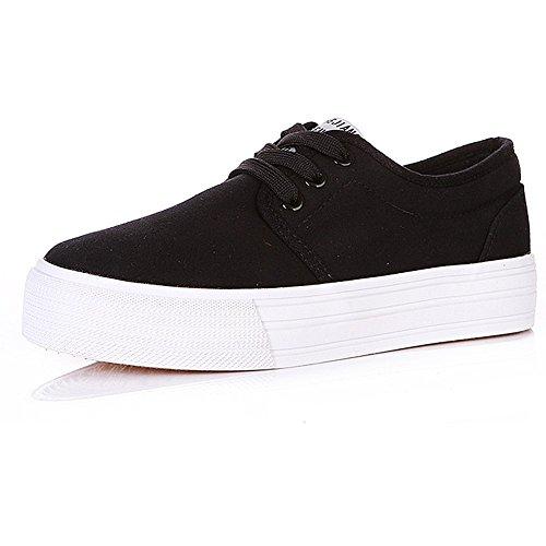 Shenn Mujer Plataforma con cordones Lona Alpargatas Entrenadores Zapatos 23309 Negro