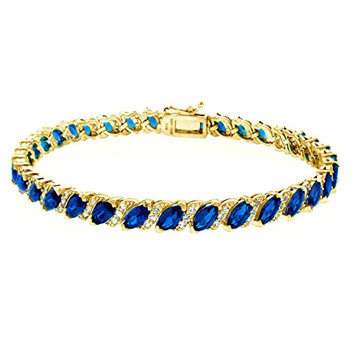 - GemStar USA Gold Flashed Sterling Silver Created Blue Sapphire Marquise-Cut Tennis Bracelet with White Topaz Accents