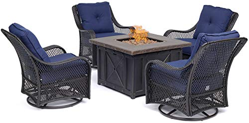 Hanover ORL5PCDFPSW4-NVY Orleans 5-Piece Fire Pit Chat Set in Navy Blue with 4 Woven Swivel Gliders Outdoor Furniture