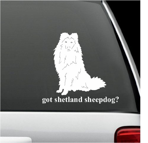 (got shetland sheepdog? White Decal Sticker Dog Bumper Laptop Car White Decal Sticker 5