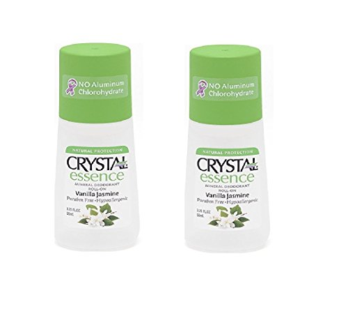 Crystal Body Deodorant Essence Mineral Roll-On - Vanilla Jasmine (2.25 fl oz) - Pack of 2 ()