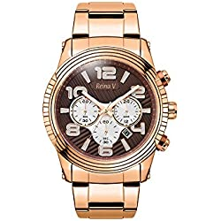 Rose Gold Plated Stainless Steel Men's Wrist Watch - Precision Chronograph, Japanese Quartz - Steve Collection By Reina V