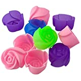 Kyпить 10X Silicone Rose Muffin Cookie Cup Cake Baking Mold Chocolate Jelly Maker Mould на Amazon.com