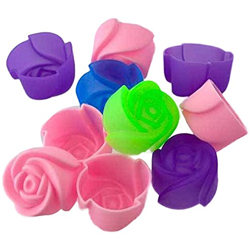10X Silicone Rose Muffin Cookie Cup Cake Baking Mold Chocolate Jelly Maker (Rose Cupcakes)