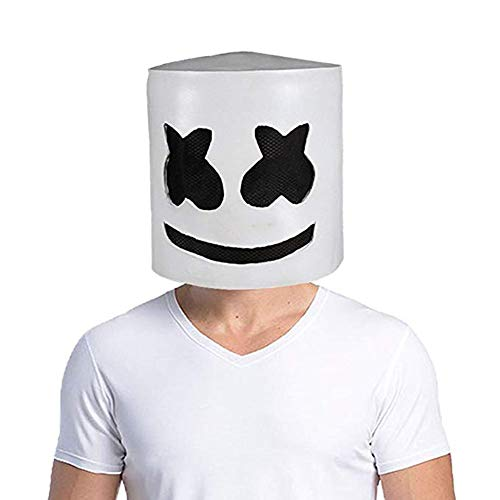 Marshmallow Mask,Electronic Syllable DJ Headgear Novelty Costume Party Mask Halloween DJ Mask Party ()