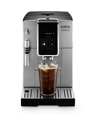 De'Longhi ECAM35025SB Dinamica Automatic Coffee & Espresso Machine TrueBrew (Iced-Coffee), Burr Grinder, Premium Adjustable Frother + Descaler, Cleaning Brush & Bean Icecube Tray, Stainless Steel