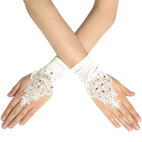 BABEYOND Floral Lace Gloves for Wedding Opera Party 1920s Flapper Lace Gloves Stretchy Adult Size (Short Fingerless-White -