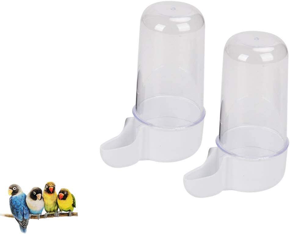 QBLEEV Bird Feeder Cups for Cage, Bird Water Bottles Parrots Food Dish, No-Mess Cockatiel Food Bowls, Seed Food Container for Small Birds Lovebirds Canaries Finches -2 Pack(Bird Cage Not Include)