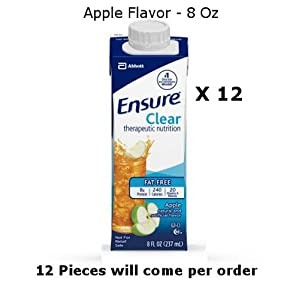 12 Pc Ensure Clear Apple Flavor Oral Supplement 8 Oz Recloseable Tetra Carton