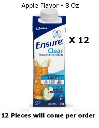 12 Pc Ensure Clear Apple Flavor Oral Supplement 8 Oz Recloseable Tetra Carton