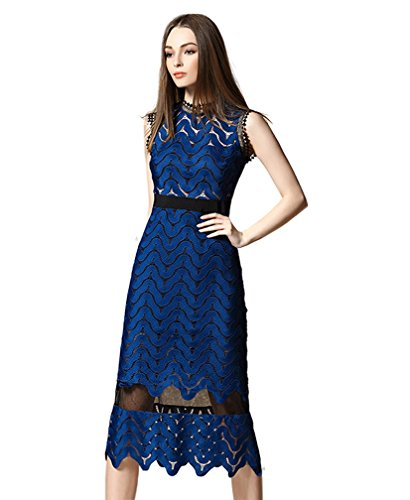 Tuliplazza Women Zigzag Tunic Sheath Cocktail Prom Party Gowns Midi Lace Dress,Blue,X-Large