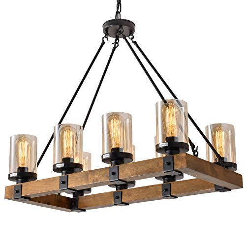 ISRAMP 8 Lights Wooden Pendant Light, Rustic Farmhouse Stylish Decor Lighting Fixtures Rectangular Wood Frame with Clear Smoky Quartz Glass Shade, Industrial Chandeliers for Dining Room(480W Max) ()