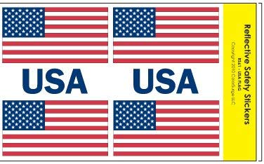 Reflective American Flag & USA Decals by ColorSurge   for Helmets, Bikes, Wheelchairs, Car Bumpers, Windows   Weatherproof & UV Resistant   Four 1