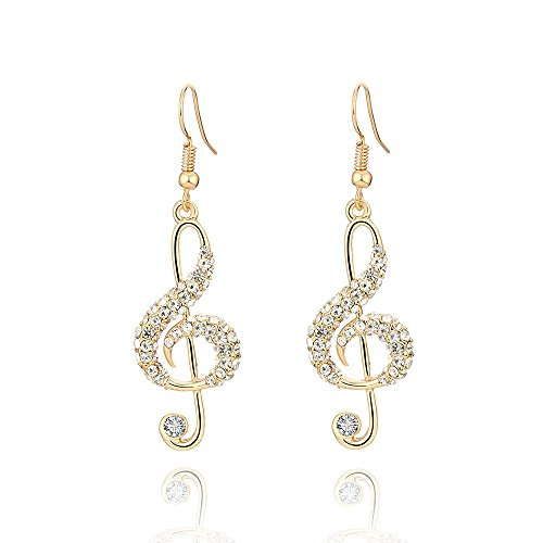 Women Dangle Earrings, Stylish Musical Note Drop Earring for Girls Shining Rhinestone Earring Anti-allergy Hook Earring with CZ Crystal (Gold Plated Same Musical Note)