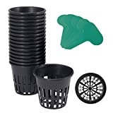 GROWNEER 25-Pack 3-Inch Net Cups Slotted Mesh Wide Lip w/ 5Pcs Plant Labels Heavy Duty Filter Plant Net Pot Bucket Basket for Hydroponics