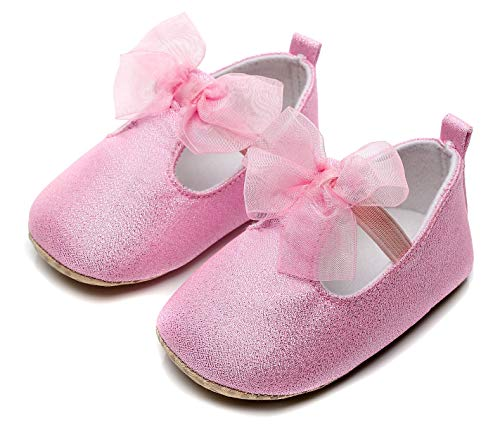 Bebila Baby Girls Mary Jane Flats Bowknot Princess Dress Shoes Ballet Flats Toddler T-Strap Slippers with Soft Sole for Newborn, Infants and First-Walker (18-24 Months/8 US Toddler/14.5 cm, Pink) -