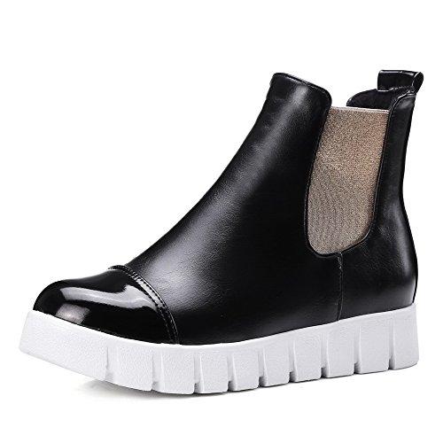 de bajo Redondo en AgooLar para punta tacón cerrada Negro Color mujer Materiales Botas Tirar surtidos de botas qfTBT7U