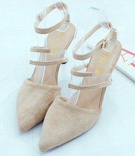 Strap Women's Suede Daily High Ankle Beige Stiletto Faux Sandals Aisun Heels qSX4HS