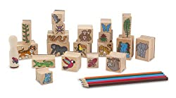 Melissa & Doug Stamp-a-scene Stamp Set: Rain Forest - 20 Wooden Stamps, 5 Colored Pencils, & 2-color Stamp Pad