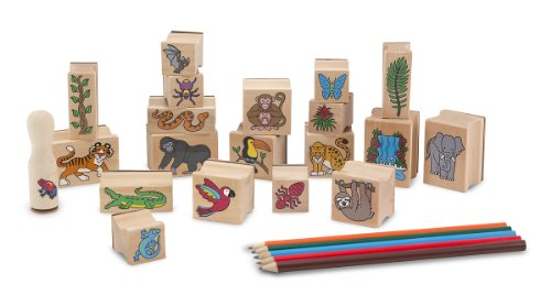 Rainforest Animal Pictures (Melissa & Doug Stamp-a-Scene Stamp Set: Rain Forest - 20 Wooden Stamps, 5 Colored Pencils, and 2-Color Stamp Pad)