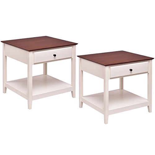 Giantex 2 Pcs Wood End Table with Storage Shelf Night Stand Coffee Table, Walnut & White