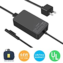 Surface Pro Surface Laptop Charger [UL Certified Updated Version] 44W 15V 2.58A Power Supply Compatible Microsoft Surface Pro 6 Pro 4 3 Surface Laptop 2 Surface Go Surface Book Include Travel Case