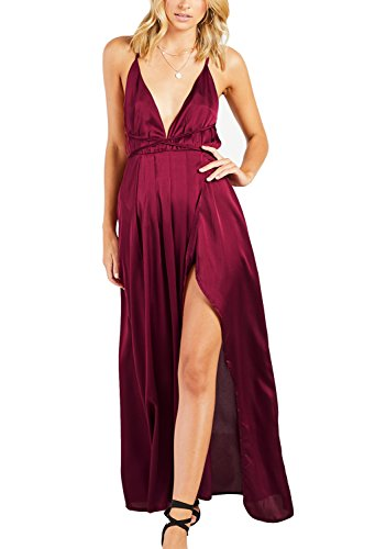 Beautiful Sexy Red Dress - Yimeili Women's Sexy Deep V Neck Backless Split Maxi Cocktail Long Party Dresses (L, Burgundy)