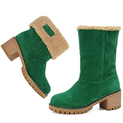 Mostrin Women's Winter Snow Boots Waterproof Round Toe Suede Chunky Mid Heels Warm Fur Ankle Boots Green Size: 4