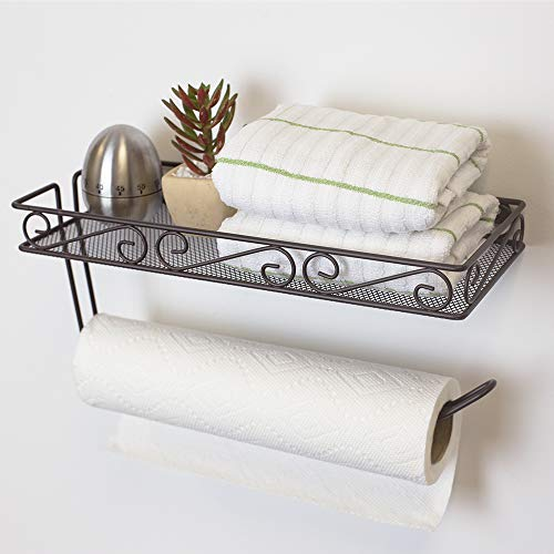 Home Basics Scroll Collection Wall Mounted Paper Towel Holder with Basket, Multi-Purpose Shelf Storage Towels, Toiletries, Supplies, Ideal for Kitchen/Bathroom Bronze