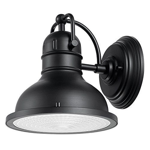 Globe Electric Harbor 1-Light Outdoor Wall Sconce, Matte Black Finish, Clear Plastic Diffuser, 44157 (Plastic Wall Lighting)